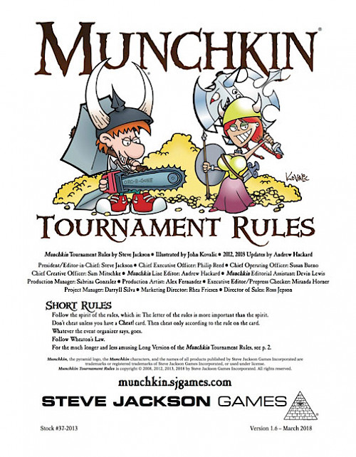 Munchkin Tournament Rules cover